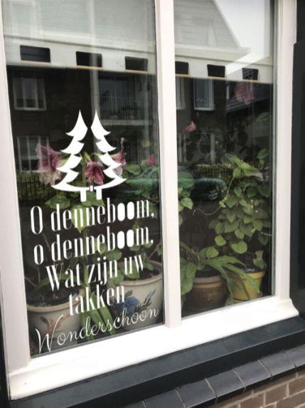 raamtekening kerst, raamtekening o denneboom, raamtekening kerstliedjes