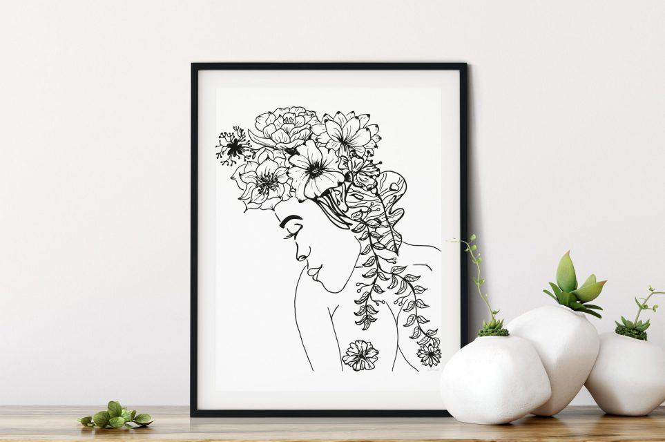 Bloemen Vrouw print_ illustratie van Ceciel Maakt