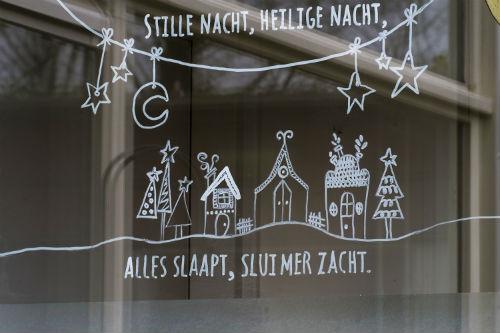 raamtekening kerst, raamtekening stille nacht