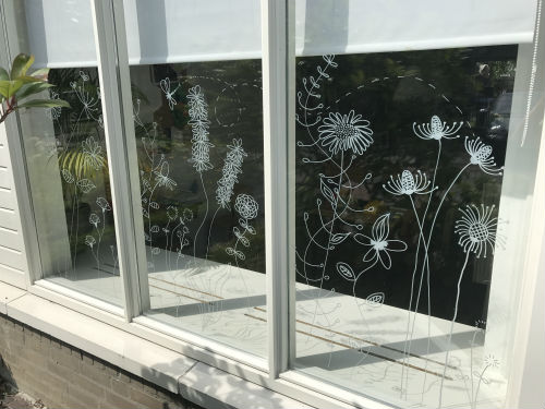 Raamtekening zomer bloemen