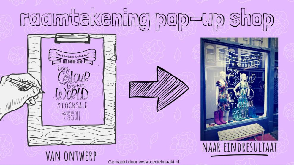 raamtekening pop-up shop