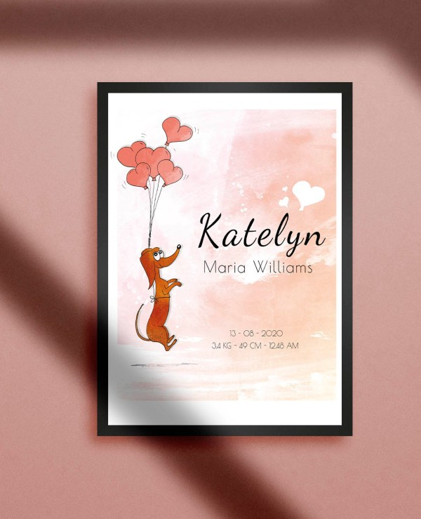 geboorteposter meisje roze met teckel met ballonnen