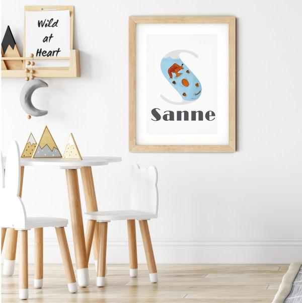 Naamposter, letterprint kinderkamer, kinderkamer poster met naam, gepersonaliseerde poster, babykamer poster, teckel poster, hond poster