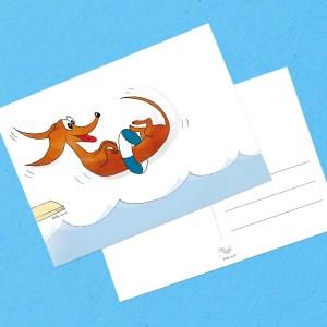 Zwemdiploma kaart teckel. Wally kaart