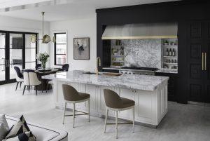 Custom black, white and gold kitchen