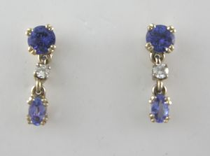 boucles d'oreilles tanzanites & diamants