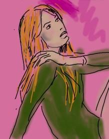 dessin d une jeune femme rousse au pull vert sur fond rose