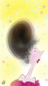 dessin d une femme au nez en tire bouchon avec un chignon en forme d escargot