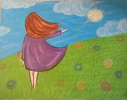peinture representant une femme de dos laissant s envoler une fleur de pissenlit