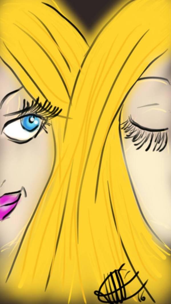 dessin de deux femmes visage colles cheveux blonds entremeles une regardant l autre qui a les yeux fermes réalisé par cecile jonquiere - cecile jonquieres