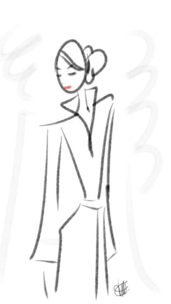 dessin d'une jeune femme portant un kimono et coiffée d'un chignon regardant vers le texte réalisé par cecile jonquiere - cecile jonquieres