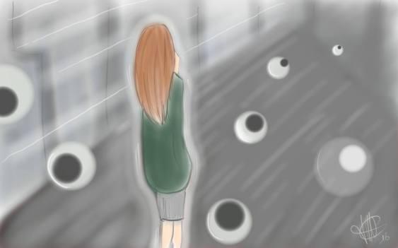 dessin d une femme de dos dans la grisaille