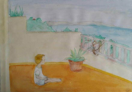 aquarelle representant un petit garcon assis sur un balcon regardant la mer