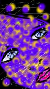 gros plan d une femme au visage violet et aux yeux bleus profond réalisé par cecile jonquiere - cecile jonquieres