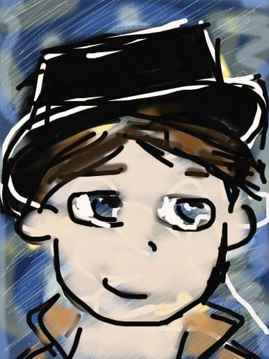dessin d un petit garcon aux airs de gavroche réalisé par cecile jonquiere - cecile jonquieres