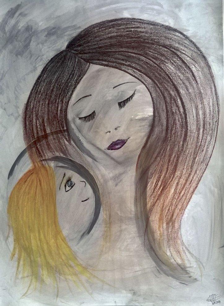 peinture représentant une mère et son enfant réalisé par cecile jonquiere - cecile jonquieres