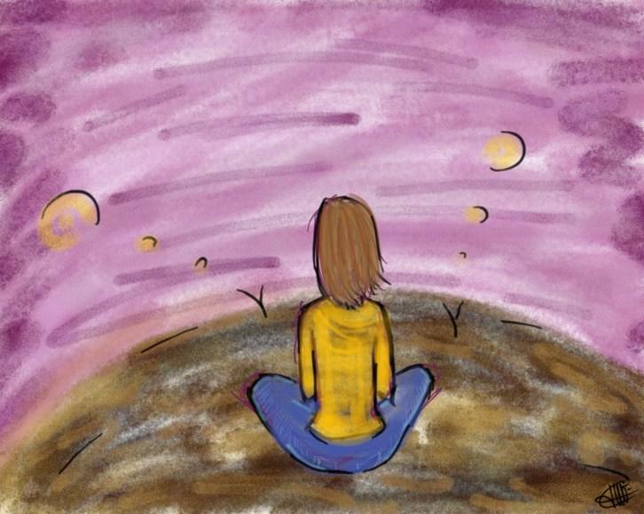 dessin d une femme assise en tailleur de dos contemplative réalisé par cecile jonquiere - cecile jonquieres