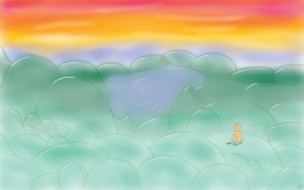 dessin d un petit garcon de dos regardant le lever de soleil au milieu des collines réalisé par cecile jonquiere - cecile jonquieres