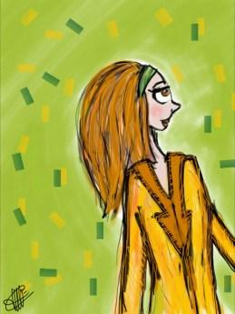 dessin d une femme en veste camel sur un mur vert pomme parseme de confettis multicolores