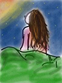 dessin d une femme de dos assise au sommet d une colline regardant la lune