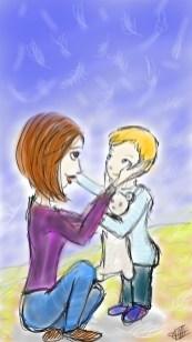 dessin d une maman et son enfant se caressant la joue réalisé par cecile jonquiere - cecile jonquieres