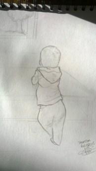 dessin representant un petit garcon de dos accoude a une table basse