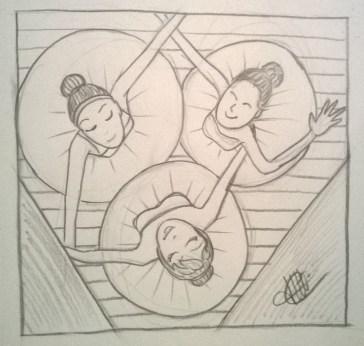dessin representant trois danseuses vues d au dessus