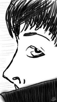 dessin reprsentant un homme de profil le col remonte