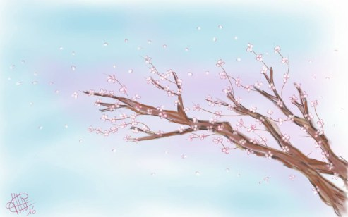 illustration de branches de cerisiers fleuriess