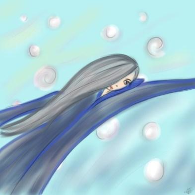dessin représentant une jeune femme qui vole réalisé par cecile jonquiere - cecile jonquieres