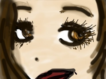 dessin en gros plan sur le visage d une femme aux grands yeux noisettes