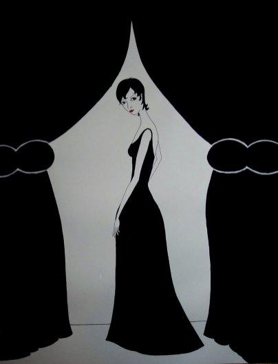 peinture representant une femme au cheveux courts noirs bouche rouge en robe de soiree entre deux grands rideaux entrouverts