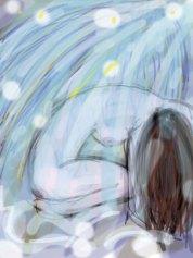 dessin d une femme nue recroquevillee sous une cascade réalisé par cecile jonquiere - cecile jonquieres