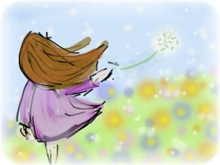 dessin représentant une jeune fille de dos laissant s'envoler une fleur de pissenlit réalisé par cecile jonquiere - cecile jonquieres