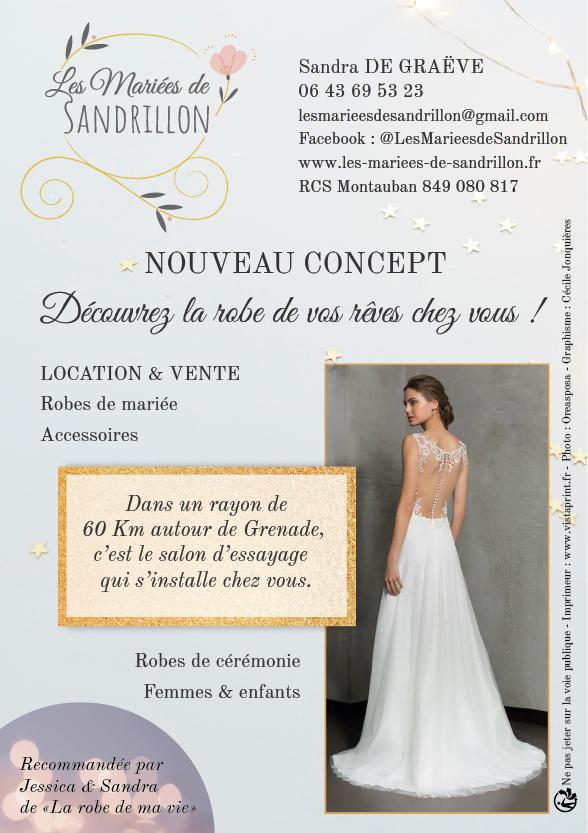 Flyer de lancement Les Mariées de Sandrillon - Découvrez la robe de vos rêves chez vous ! - créé par Cécile Jonquières Graphiste Webdesigner Illustratrice