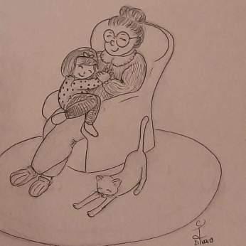 Dessin d'une petite fille faisant un gros câlin à sa mamie