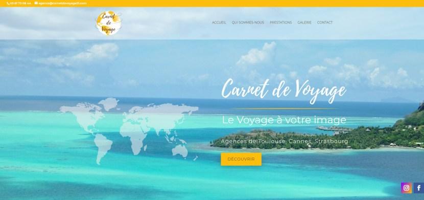 Visuel de la page d'accueil du site web de Carnet de Voyage