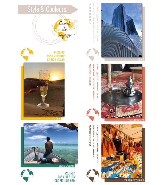 Planche de tendances - styles et couleurs - Carnet de Voyage