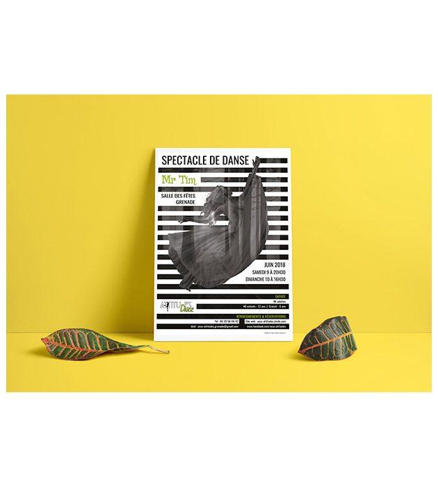 Affiche du spectacle 2018 d'Asso Attitudes créée par Cécile Jonquières Graphiste webdesigner illustratrice 31