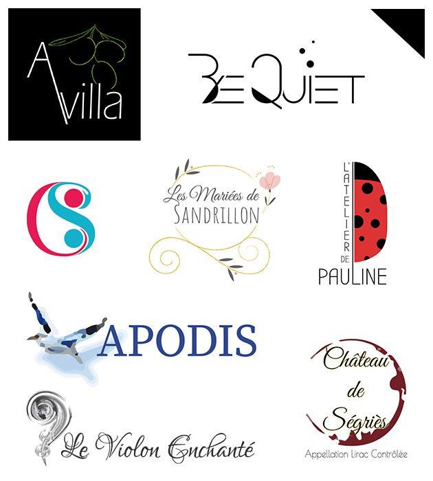 visuel reprenant quelques logos créés par Cécile Jonquières Graphiste webdesigner illustratrice 31
