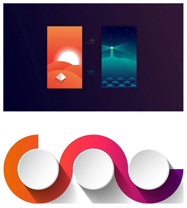 visuel reprenant 2 tutoriels d'infographie