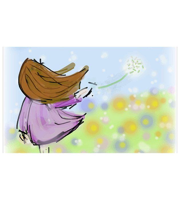 Dessin Une fleur dans la prairie créé par Cécile Jonquières Graphiste webdesigner illustratrice 31