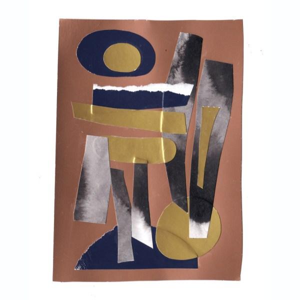 Collage de Cécile Jaillard. Papier découpé, encre de Chine, au format A6. Création originale, exemplaire unique.