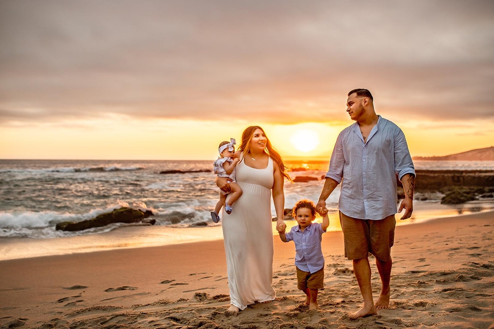 Family photo at Victoria Beach in Orange County