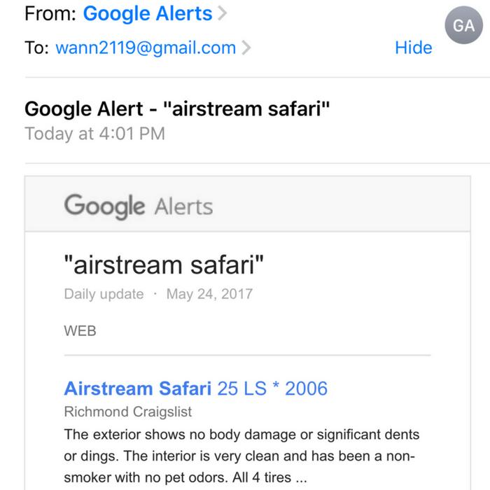 Google Alerts Vintage Camper