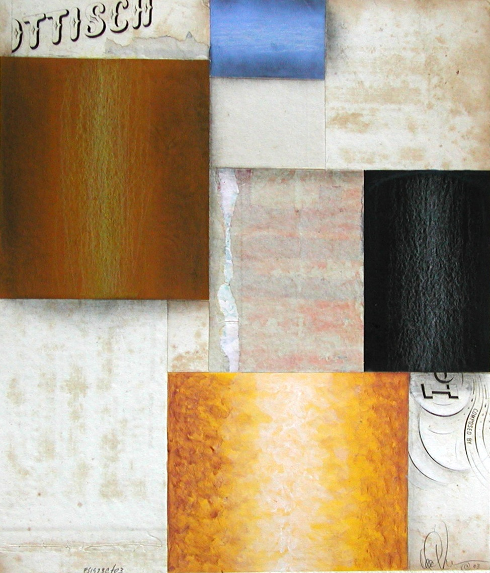 Fusion Series #1973 - 2003 - collage on paper with antique papers acrylic and pencil