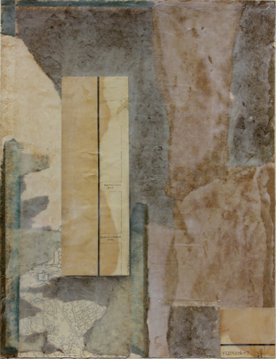 Fusion Series #2352 - 2007 - collage with found paper - 12x9 inches mounted on watercolor paper