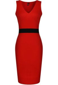 red dress with black belt