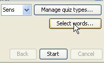 le menu select words de java vocabulary learning tool