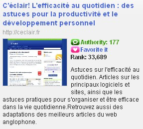 Technorati Authority le 2 janvier 2008